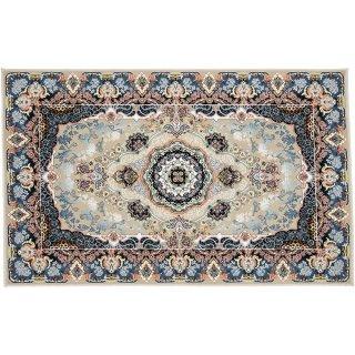 高級ウィルトン織 ペルシャ柄 玄関マット グレー 75×120cm