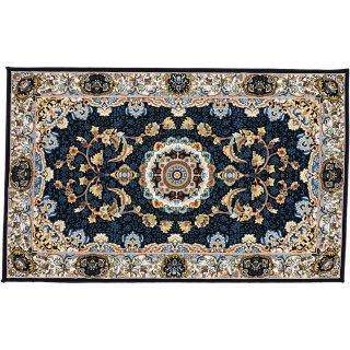 高級ウィルトン織 ペルシャ柄 玄関マット ネイビー 75×120cm