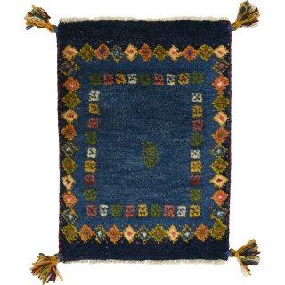 ペルシャンギャッベ 玄関マットサイズ 約40×60cm ブルー系