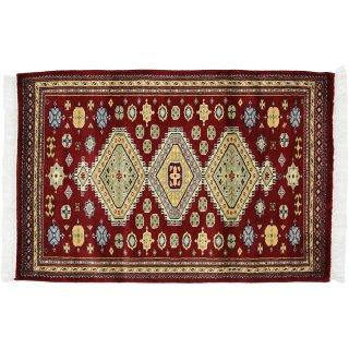 パキスタン緞通 玄関マット ウール 手織 レッド 9×14 75×120cm C-2RE