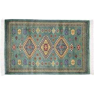 パキスタン緞通 玄関マット ウール 手織 グリーン 緑 9×14 75×120cm C-2GN