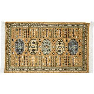 パキスタン緞通 玄関マット ウール 手織 ゴールド 茶系 9×14 75×120cm C-3GO