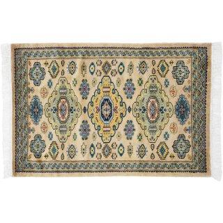 パキスタン緞通 玄関マット ウール 手織 ベージュ 9×14 75×120cm C-7BE
