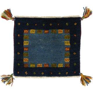 ペルシャンギャッベ 座布団サイズ 約40×40cm ブルー系