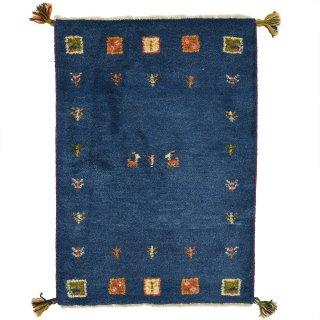 ペルシャンギャッベ 玄関マットサイズ 約60×90cm ブルー系