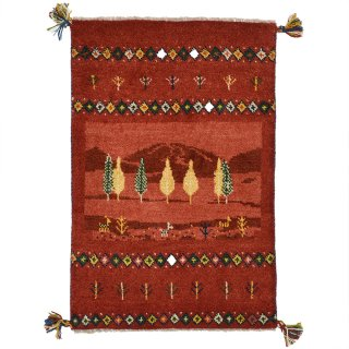 ペルシャンギャッベ 玄関マットサイズ 約60×90cm レッド 赤