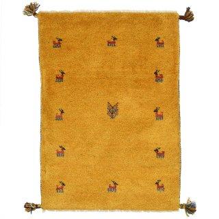 ペルシャンギャッベ 玄関マットサイズ 約60×90cm イエロー 黄色