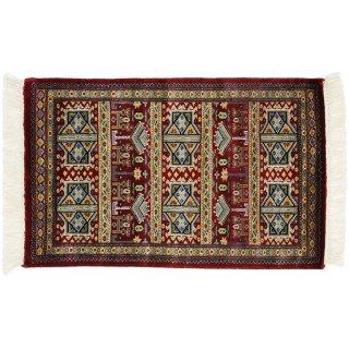パキスタン緞通 玄関マット ウール 手織 レッド 9×14 約60×90cm C-6RE