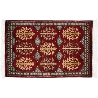 パキスタン緞通 玄関マット ウール 手織 レッド 9×14 約60×90cm C-11RE