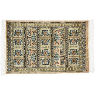パキスタン緞通 玄関マット ウール 手織 ベージュ 9×14 約60×90cm C-6BE