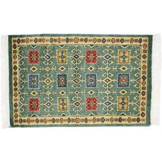 パキスタン緞通 玄関マット ウール 手織 グリーン 9×14 約60×90cm C-10GN