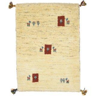 ペルシャンギャッベ 玄関マットサイズ 約60×90cm ベージュ 生成