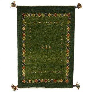 ペルシャンギャッベ 玄関マットサイズ 約60×90cm グリーン系