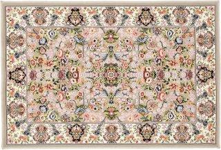 高級ウィルトン織 ペルシャ柄 玄関マット グレイ×ピンク 60×90cm