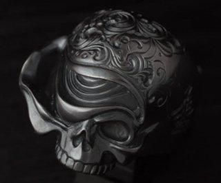 アラベスクスカルリング/tellers skull 002 custom Jinny's(燻し黒仕上げ)/シルバーアクセサリー/15~30号