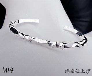 3つ波形のゆらぎバングル M /W4-3/シルバー950/14~19cm