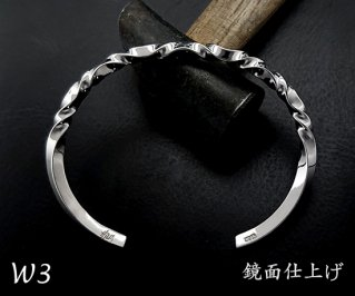 7つ波形のゆらぎバングルS /W3-7/シルバー950/13~19cm