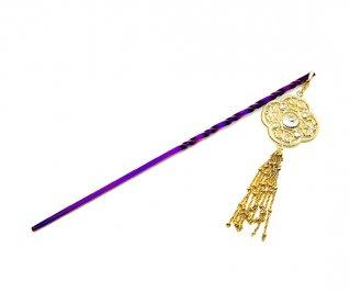 Hizm/チタン製簪 流水に空-赤紫 金色飾り/純チタン/簪/15~18cm/軸変更可