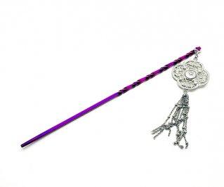 Hizm/チタン製簪 流水に空-赤紫 銀色飾り/純チタン/簪/15~18cm/軸変更可
