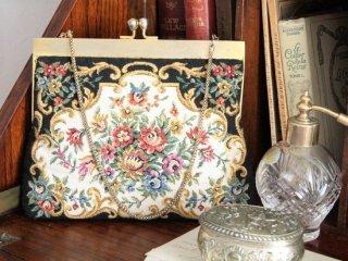 薔薇のゴブラン織り ヴィンテージハンドバッグ