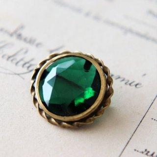 エメラルドグリーン カットガラス 小さなヴィンテージブローチ