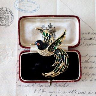 美しい鳥 シックなエナメル ヴィンテージブローチ