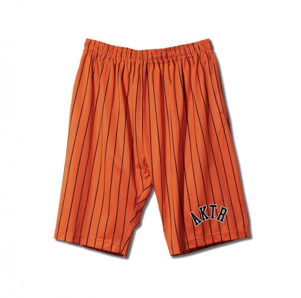 PENCIL STRIPE MESH SHORTS ORANGE