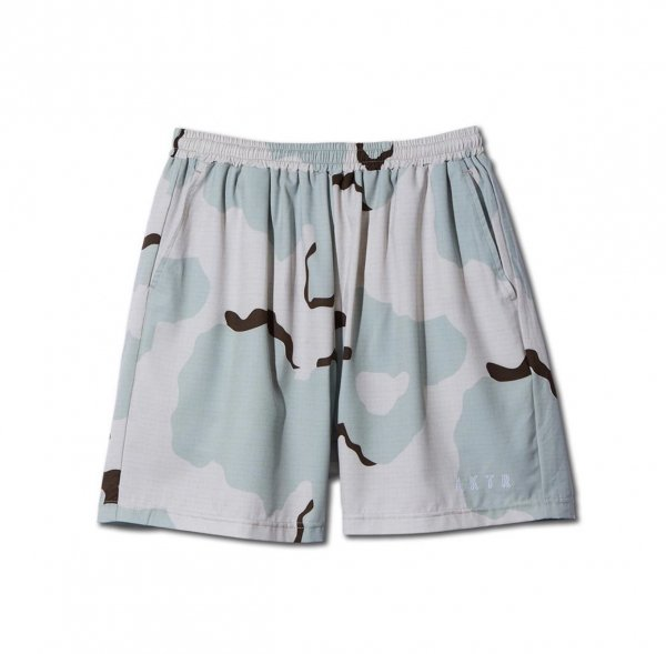 DESSERT CAMO SHORT WIDE PANTS L-BEIGE