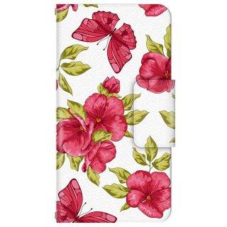 清楚な白昼に舞う赤い花と蝶 多機種手帳型スマートフォンケース