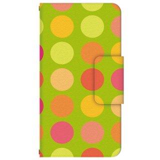 ドット柄 グリーン・オレンジ 多機種手帳型スマートフォンケース