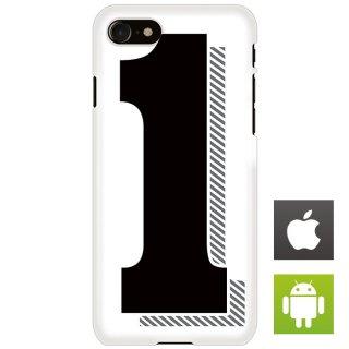ナンバー 番号 1 タイポグラフィ スマートフォンケース ハードケース iPhone アンドロイド