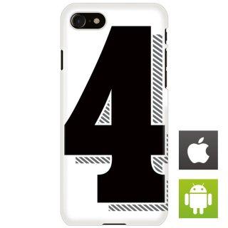 ナンバー 番号 4 タイポグラフィ スマートフォンケース ハードケース iPhone アンドロイド