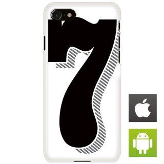 ナンバー 番号 7 タイポグラフィ スマートフォンケース ハードケース iPhone アンドロイド