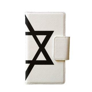 六芒星 白 多機種手帳型スマートフォンケース