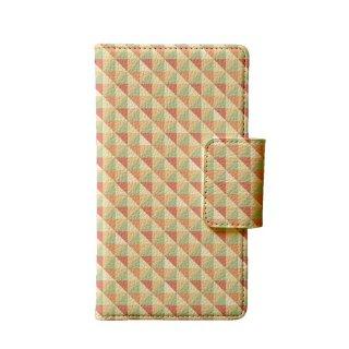 カラフル ピンク・オレンジ ポリゴン 多機種手帳型スマートフォンケース