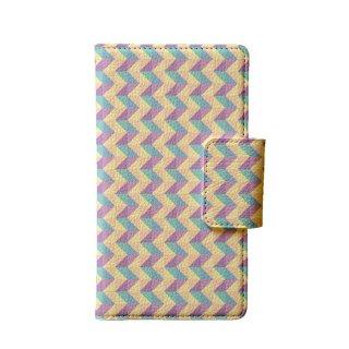 カラフル パープル・ブルー ポリゴン 多機種手帳型スマートフォンケース