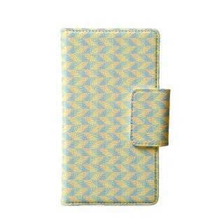 カラフル ブルー・イエロー ポリゴン 多機種手帳型スマートフォンケース
