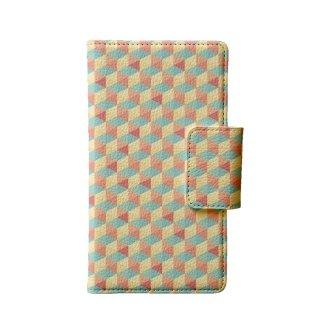 カラフル ブルー・ピンク ポリゴン 多機種手帳型スマートフォンケース