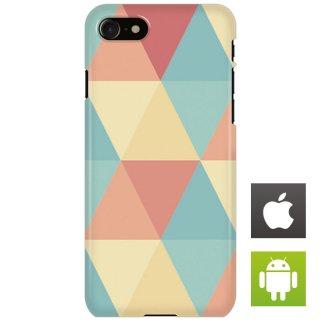 カラフル ポリゴン ピンク・ブルー スマートフォンケース ハードケース iPhone アンドロイド