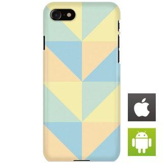 カラフル ポリゴン ベージュ・ブルー スマートフォンケース ハードケース iPhone アンドロイド