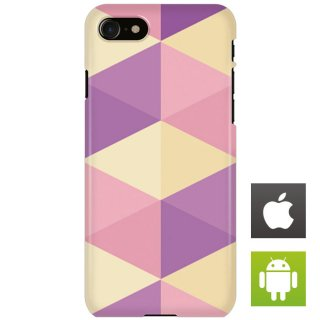 カラフル ポリゴン パープル・ベージュ スマートフォンケース ハードケース iPhone アンドロイド