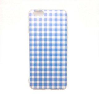 ギンガムチェック ブルー ソフトケース iPhone6 iPhone6S