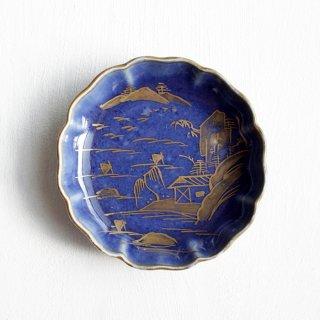 瑠璃釉輪花 金彩 豆皿