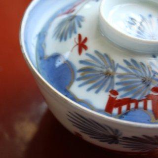 蓋付飯茶碗 天狗の羽団扇