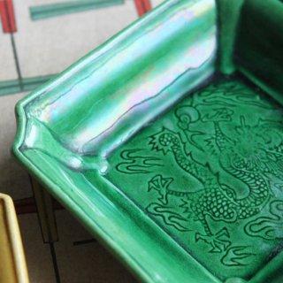 �平焼 緑釉 龍図隅切四方小皿