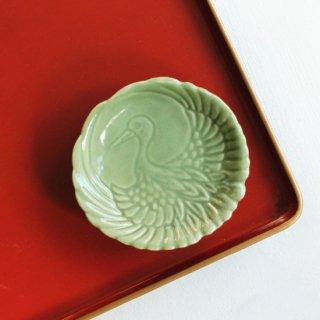 青磁 豆皿 鶴の丸