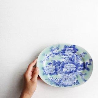 青磁染付 楕円皿