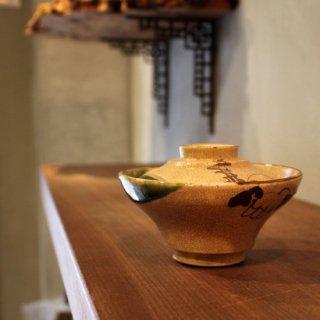 織部焼 蓋付飯茶碗