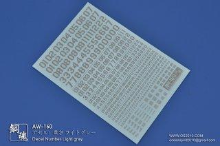 海魂・鋼魂 デセル:数字デカール ライトグレー AW-160