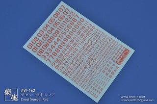 海魂・鋼魂 デセル:数字デカール レッド AW-162